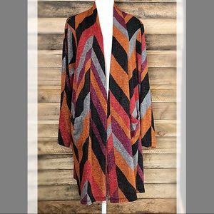 Susan Graver color block metallic open cardigan
